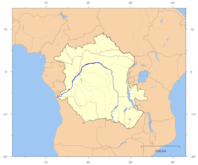 Course and Drainage basin of the Congo River with countries marked