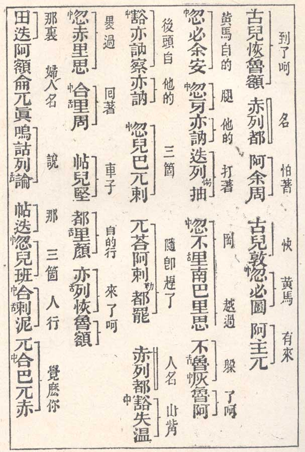 Mongolian text from The Secret History of the Mongols in Chinese transcription