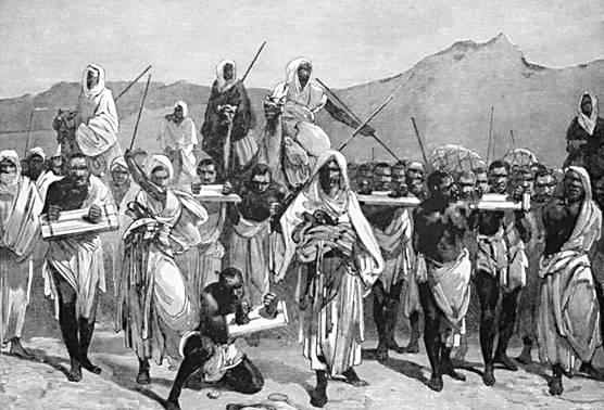 Nineteenth-century engraving of Arab slave-trading caravan transporting African slaves across the Sahara