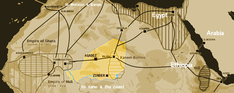 Saharan trade routes circa 1400, with the modern territory of Niger highlighted