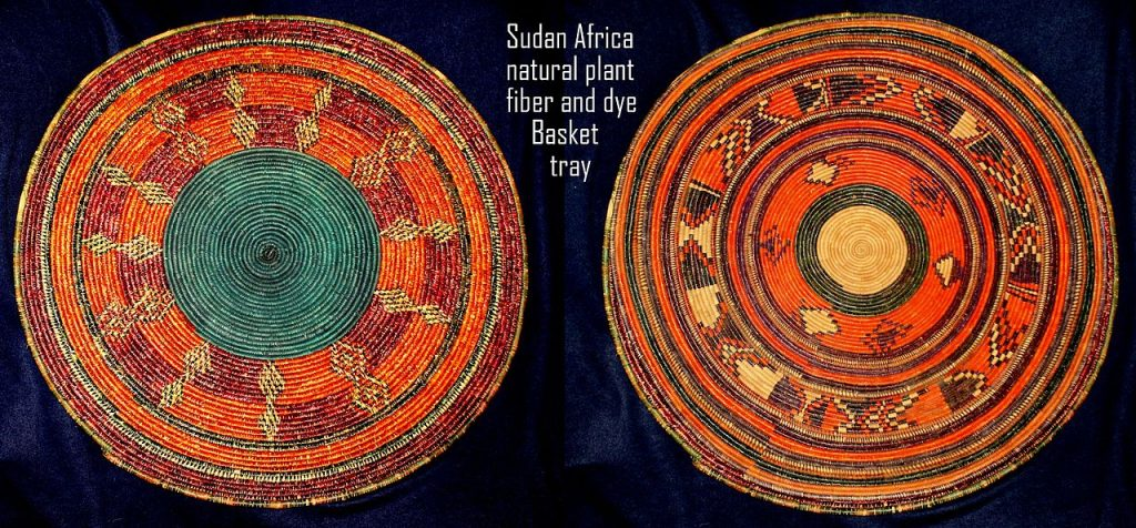 Sudanese basket-tray, tabar of weaved natural plant fibre, coloured in different colours