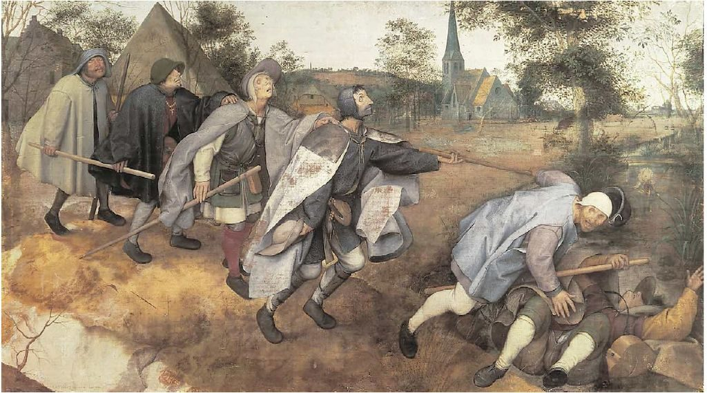 The Blind Leading the Blind painted by Bruegel