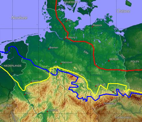 Ice age map of northern Germany