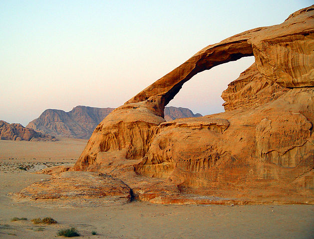 A natural arch produced by the wind erosion