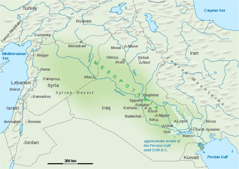 Map showing the extent of Mesopotamia
