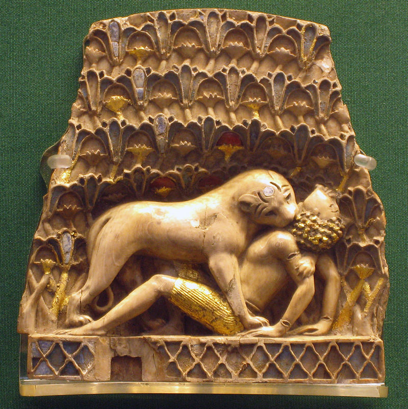 One of the Nimrud ivories shows a lion eating a man