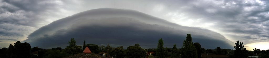 Panorama of a strong shelf cloud
