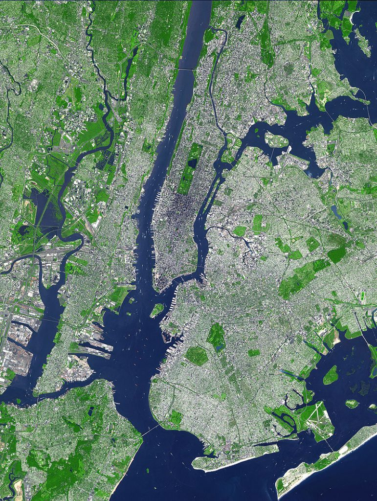 Satellite imagery illustrating topography of the urban core