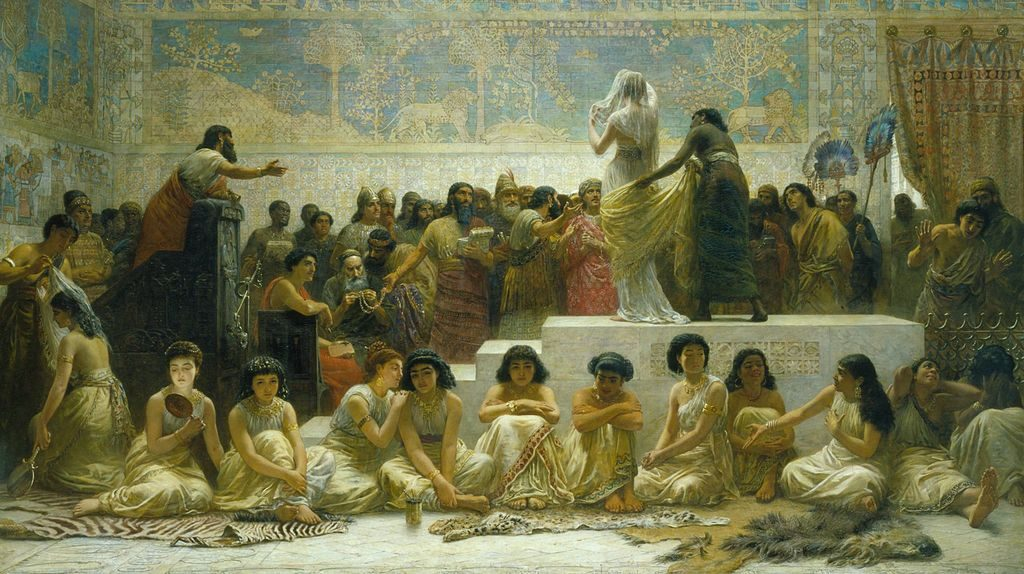 he Babylonian marriage market by the 19th-century painter