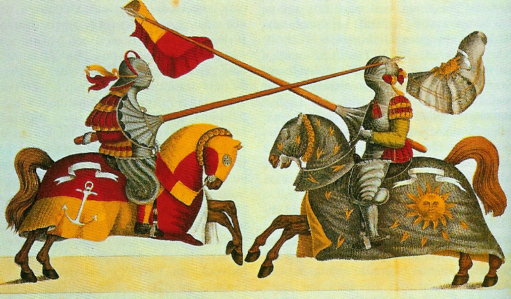 A later print of a 15th-century joust