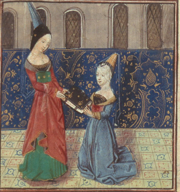 Christine de Pizan presenting The Treasure to Margaret of Burgundy