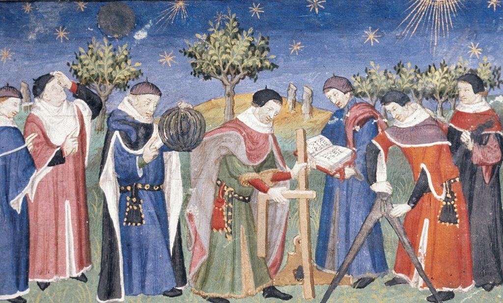 Clerics studying astronomy and geometry, French, early 15th century