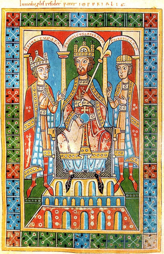 Frederick Barbarossa, middle, flanked by two of his children