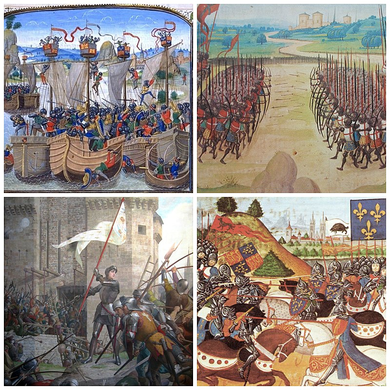 Hundred Years' War. Clockwise, from top left: La Rochelle, Agincourt, Patay, Orleans.