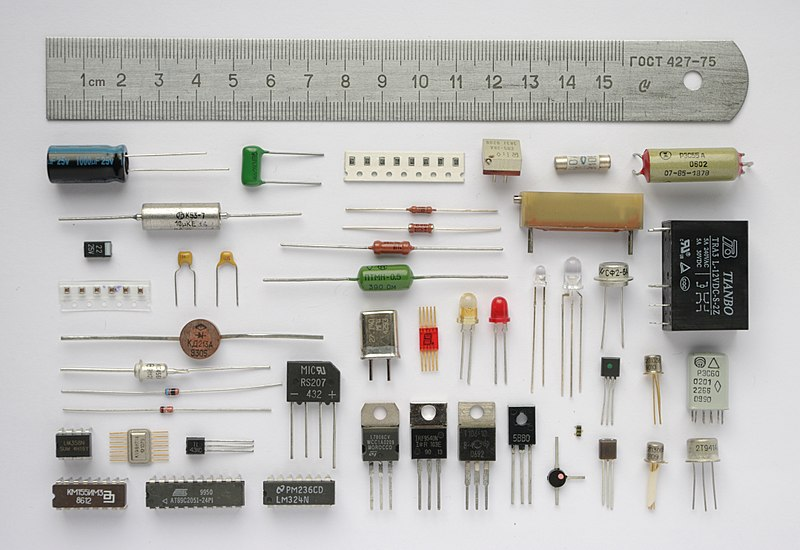 Various electronic components.